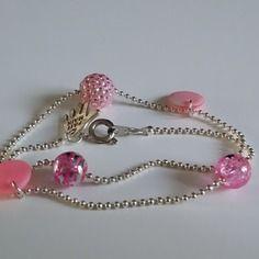 Bracelet enfant double tour chaîne argentée et perles