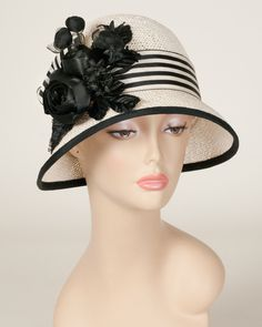 Emily, natural with black, toyo hat with satin & velvet rose cluster Louise Green hat – Louise Green Millinery