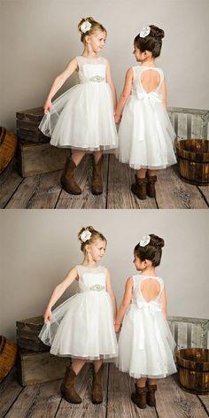 Tulle Open Back Beaded Lace White Flower Girl Dresses  909f98ea29dc