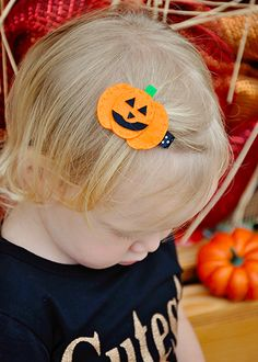 The Hair Bow Company - Halloween Jack-O-Lantern Felt Pumpkin Clippie, $1.99 (http://www.thehairbowcompany.com/jack-o-lantern-felt-clippie/)