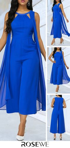 When you are going to take a meet,you need a serious clothes,this Royal Blue jumpsuit perfectly saitisfied it.Cutout Neckline Sleeveless desigen make you look sexy and elegant. Blue Jumpsuits, Jumpsuits For Women, Stylish Outfits, Fashion Outfits, Womens Fashion, Diy Mode, African Fashion Dresses, Plus Size Fashion, Casual Dresses