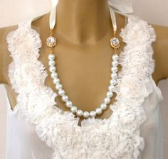 Swarovski Crystals, Glass Pearls and Cream Satin Ribbons   Necklace - Perfect for Bride, Wedding, Bridesmaids,  and Special Evants
