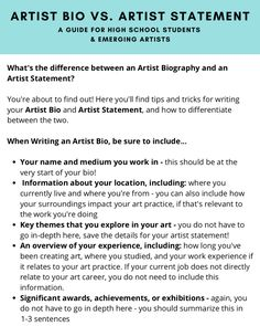 Artist Bio Example, Artist Resume, Artist Biography, Visionary Art, High School Students, Writing Tips, How To Find Out, Teaching, Education