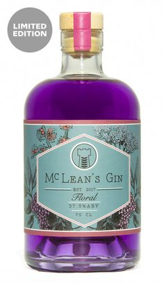 McLean's Floral Gin cl) Rum Bottle, Bottle Shop, Liquor Bottles, Whiskey Bottle, Scottish Gin, Gin Brands, Sweet Violets, Bottle Packaging, Packaging Design