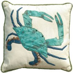 Cotton throw pillow with a crab motif.    Product: Pillow    Construction Material: 100% Cotton shell and polyester an...