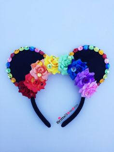 Rainbow Rose Mouse Ears, Minnie Mouse Ears, Disneyland, Disney World, Mickey… Mickey Mouse Jewelry, Mickey Mouse Earrings, Disney Earrings, Mickey Mouse Ears Headband, Disney Jewelry, Minnie Mouse Ears Disneyland, Disney Mickey Ears, Disney Diy, Disney Crafts