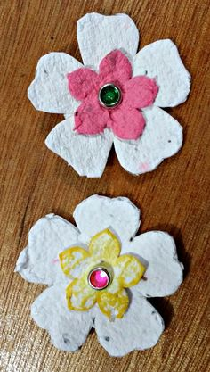 APeeling Paper Crafts: April Club Scrap Artist Team Challenge-Earth Day Seed Paper Flowers ATCs