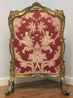 "Late Louis XV gilded fire screen from the Marie Antoinette. Painted marks: ,,double VV"" for Versailles du N' 191"". Brand mark: Marie Antoinette's Garde Meubles. 104 x 71 x 43 cm."
