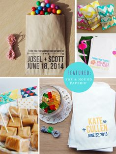 Custom Favor Bags Wedding Sweet Treat Table Dessert Table Goodie Bag by Fox & Hound Paperie