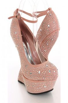 8b24c0c451f Blush Rhinestone Anti Gravity Wedges Sexy Party Dress