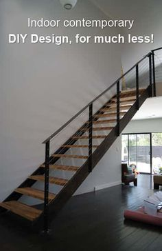Awesome Indoor Contemporary DIY Stairs Design, For Much Less!