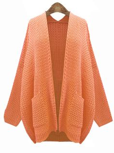 Orange Long Sleeve Pockets Cardigan Kint Sweater US$31.97