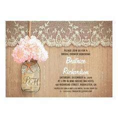 "rustic mason jar pink hydrangea bridal shower 5"" x 7"" invitation card"