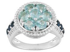 1.48ctw Round Blue Apatite, .35ctw Round London Blue Topaz, .13ctw Round White Zircon Silver Ring