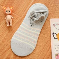 CRAZY FLY 5 Color New Cute Cartoon Bear Cat Rabbit Chunmian Stealth Boat Socks/Short Feminino/Cartoon Animal Print Socks Women