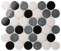 Cookie Circle Ceramic Mosaic Dark Ice Crackle Mix 298x264.5mm #tiles #mosaic #circlemosaic #pennyroundmosaic #homedecor #interiordesign #walltiles
