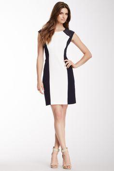 Sandra Darren Studded Shoulder Colorblock Panel Dress on HauteLook