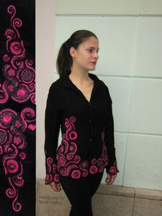 Black and Pink Sweater Coat Sweater Cardigan Freeform by MARTINELI