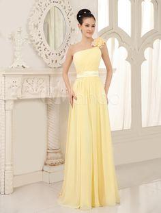 Une seule épaule plissé en mousseline de soie jonquille élégante robe demoiselle d'honneur - Milanoo.com
