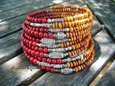 Multi strand bead and silver wrap bracelet