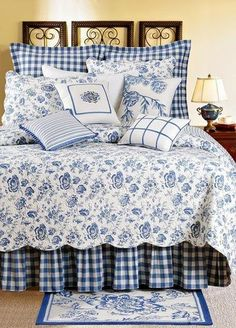 Blue and white ~ love the pine cone pillow
