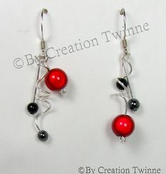 red black funky spirals earrings , bridesmaids earrings, delicate earrings, bridesmaids gift, agate, asymmetrical earringsby creationtwinne.  # GET THEM HERE: http://www.etsy.com/listing/112611714