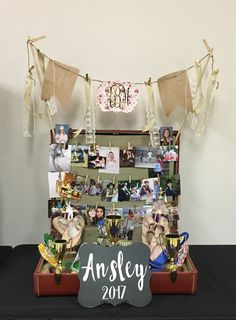 I used an antique suitcase instead of a boring trifold board! Graduation Photo Displays, Graduation Photos, Graduation Party Planning, Memory Table, Photo Boards, Women's Ministry, Grad Parties, Diy Photo, Senior Photos