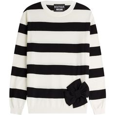 Boutique Moschino Wool-Cotton Striped Sweater ($318) ❤ liked on Polyvore featuring tops, sweaters, stripes, holiday sweaters, loose sweaters, evening sweaters, black and white stripe top and evening tops