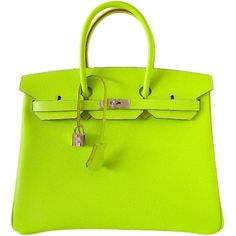 Pre-owned HERMES BIRKIN bag 35 Candy Series Limited Edition KIWI (83 895 LTL) ❤ liked on Polyvore