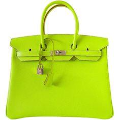 HERMES BIRKIN bag 35 Candy Series Limited Edition KIWI ❤ liked on Polyvore
