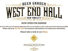Beer Garden West End Hall New York City