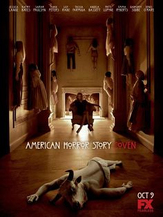 """Official promotional poster for 'American Horror Story: Coven.' Those """"stuck"""" to the walls are actors who will appear in Coven with Jessica Lange in the chair. The human/animal in front of her appears in the trailer titled Initiation. American Horror Story Coven, American Horror Story Seasons, Evan Peters, Sabbat, Posters Vintage, Art Posters, Cinema Tv, By Any Means Necessary, Hemlock Grove"""