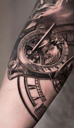 diseños de tatuajes 2019 80 Clock Tattoo Designs For Men - Timeless Ink Ideas - Best 3d Tattoos, Cool Arm Tattoos, Map Tattoos, Time Tattoos, Arm Tattoos For Guys, Forearm Tattoo Men, Sexy Tattoos, Sleeve Tattoos, Tattoo Symbols