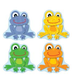 Liven up any classroom with this playful, lighthearted design! FUNky Frogs Cut-Outs can be used for more than decoration! Use them for game pieces, to brighten up cubbies, fun name tags, reward cards and much more! This 36 piece pack includes an assortment of bold colors and designs printed on card-stock. Look for coordinating products in this design to create a lively and FUNky classroom theme!