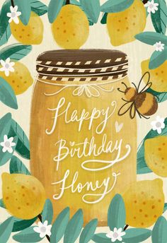 'Happy birthday honey' - Birthday card template you can print or send online as eCard for free. Happy Birthday Honey, Happy Birthday Wishes Cards, Birthday Blessings, Bday Cards, Happy Birthday Quotes, Happy Birthday Images, Birthday Love, Birthday Congratulations, Birthday Card Template