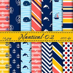 BUY 2 GET 2 FREE -  Nautical digital  paper pack, Digital Backgrounds, Scrapbooking Paper,  Digital Paper, Nautical Scrapbook Paper