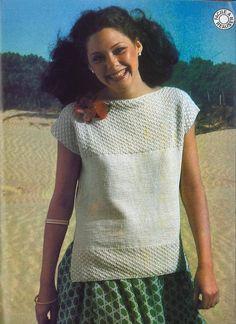 Pingouin N°9 été, summer 70's pull tube, chale, tricot crochet free pattern, femme , enfant, homme
