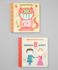 Cultivate a love for classic literature with this sweet set. Inspired by Alice in Wonderland and Romeo and Juliet, this darling duo is designed to help little ones learn to count and discover different colors with the help of two timeless tales.