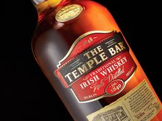 Agency: Dynamo Project Type: Produced, Commercial Work Client: The Temple Bar Location: Ireland Packaging Content: Whiskey The T. Whiskey Label, Scotch Whiskey, Whisky, Whiskey Bottle, Best Irish Whiskey, Temple Bar, Irish Traditions, Wine And Spirits, Packaging Design Inspiration