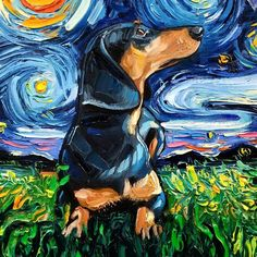 "Artist Whose Painting Got Mistaken For A Van Gogh Creates Adorable ""Starry Night"" Dog Series Pics) - Dachshunds - Van-Gogh-Starry-Night-Reimagined-Dogs-Paintings-Aja-Trier - Arte Dachshund, Dachshund Love, Daschund, Weenie Dogs, Inspiration Art, Wow Art, Dog Paintings, Tour Eiffel, Vincent Van Gogh"