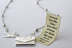 SALE Letter Locket Necklace, Friends are Like Stars Envelope Necklace, Friendship Necklace, Silver Personalized Necklace, Secret Message