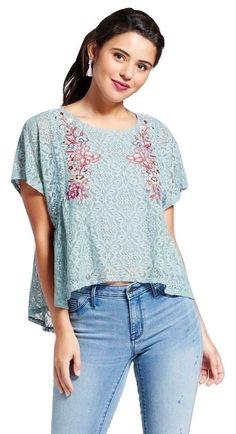 51df58ea43d30 Buy Women s Embroidered Lace Caftan Top Xhilaration Juniors Size M MINT  Floral online