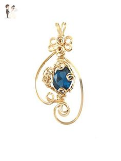 Large Blue Zircon faceted gemstone, Wire wrapped pendant - For the bride something blue (*Amazon Partner-Link)