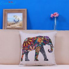 2017 Top sale Prevalent 2017 new arrival Colorful india Elephant Home Bed Decorative Pillow Case Free Shipping  mar20