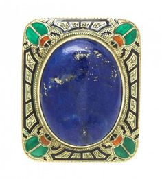 An Egyptian Revival Yellow Gold, Lapis Lazuli and : Lot 25
