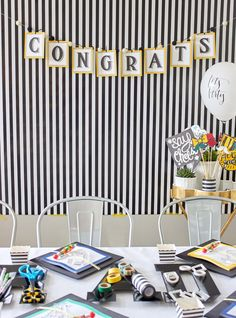Throw an A+ Cap Decorating Party for You and Your Friends! When it comes to doing the pre-party prep, you have a few options. You can either have everybody share supplies, ask each guest to bring his or her own supplies, splurge on all the supplies yourself, purchase the supplies but ask friends to pay you back or take a trip to the craft store together. Stock up on these essentials: a hot-glue gun, scissors, ribbon, stencils, adhesive letters, fabric paint, paint brushes and washi tape.
