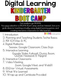 Digital Learning Kindergarten Boot Camp - Sharing Kindergarten