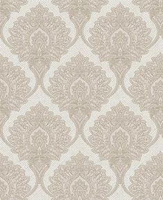 Casablanca (M0787) - Crown Wallpapers - A finely detailed faux silk brocade featuring a matt embossed damask on a soft sheen ground. Shown here in Silver grey - more colours are available. Please request a sample for true colour match.