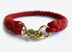 Custom Red Rope Dog Collar by MoondogDesignStudio on Etsy