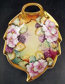 Lovely Tirschenreuth Bavarian Hand Painted Leaf Dish produced in Bavaria, Germany by Tirschenreuth in the 1960s